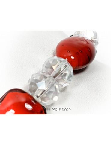 Verre de Murano sur Cristal de Bohème, bracelet en 10&12 mm