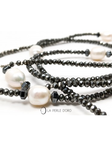 Sautoir perles naturelles blanches, Collection Artiste