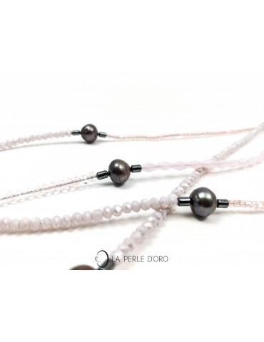 Sautoir perles naturelles grises, Collection Artiste