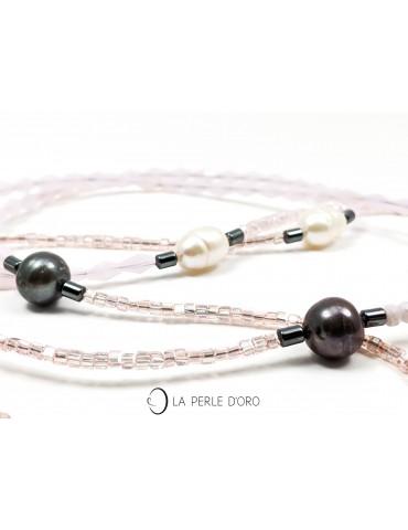 Perles naturelles grises et...