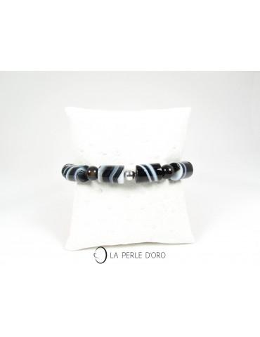 Agate noire rubanée, Bracelet en 12mm