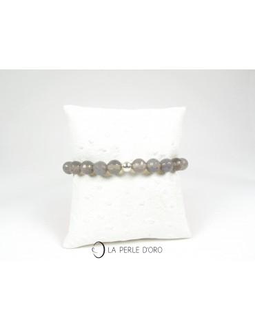 Agate grise, Bracelet 8 mm,...