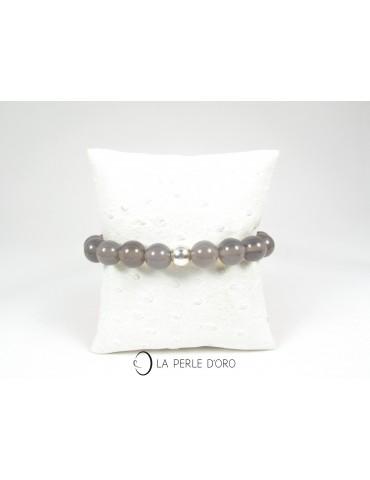 Agate grise, Bracelet 10 mm
