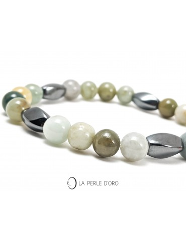Jade et hématite, bracelet...