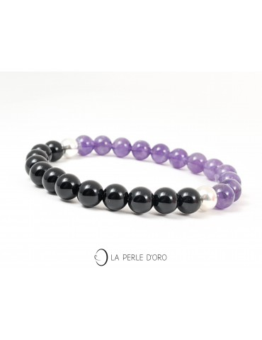 Onyx and Amethyst bracelet,...